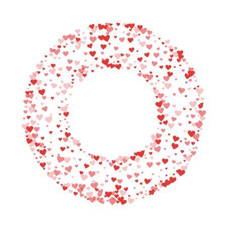 Red hearts confetti. Round bagel frame on white valentine background. Vector illustration. Illustration