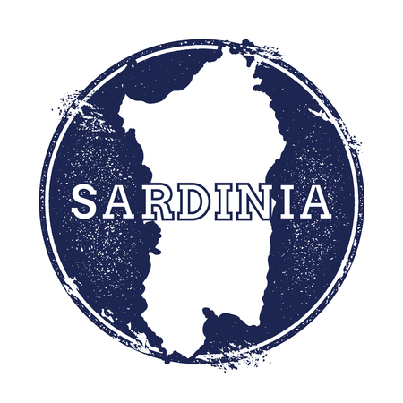 Sardinia vector map. Grunge rubber stamp with the name and map of island, vector illustration. Can be used as insignia, logotype, label, sticker or badge. Illustration