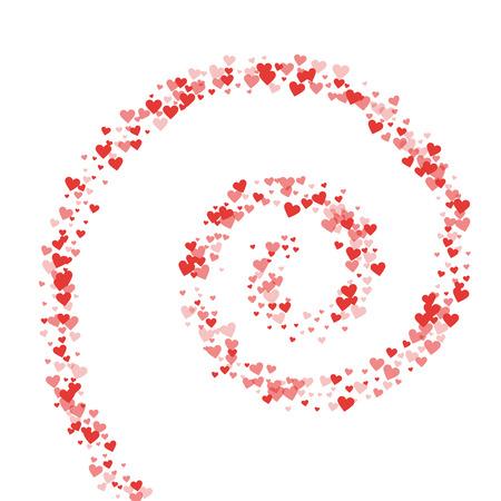 Red hearts confetti. Spiral on white valentine background. Vector illustration. Vektoros illusztráció
