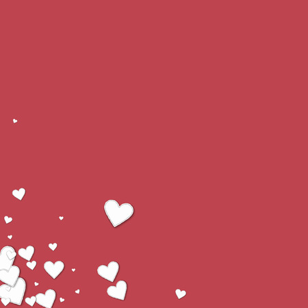 at the bottom of: Beautiful paper hearts. Messy bottom left corner on crimson background. Vector illustration. Illustration