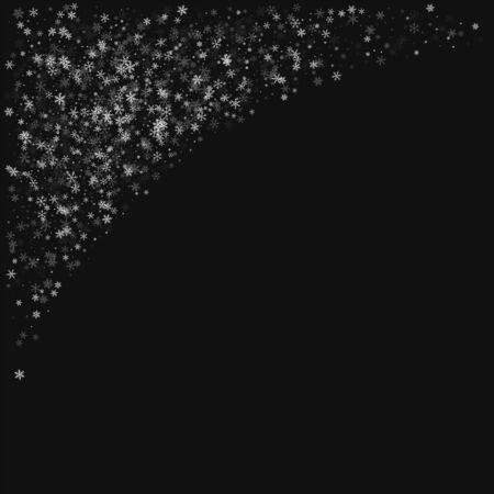 Beautiful snowfall. Top left corner on black background. Vector illustration.