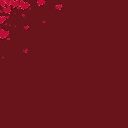 canvas print: Red stitched paper hearts. Left right corner on wine red background. Vector illustration. Illustration