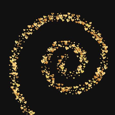Gold gradient hearts confetti. Spiral on black valentine. Vector illustration.