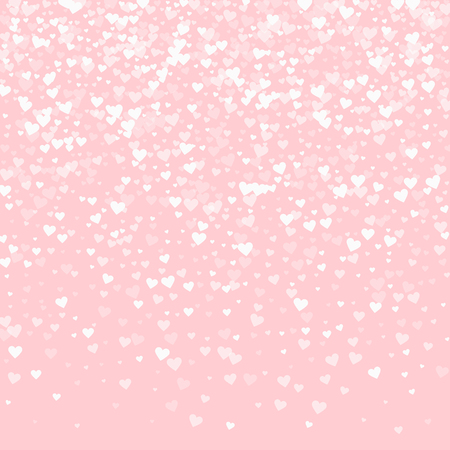 White hearts confetti. Top gradient on pale_pink valentine background. Vector illustration.