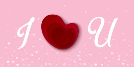 I love you red heart card. Vector illustration. Illustration