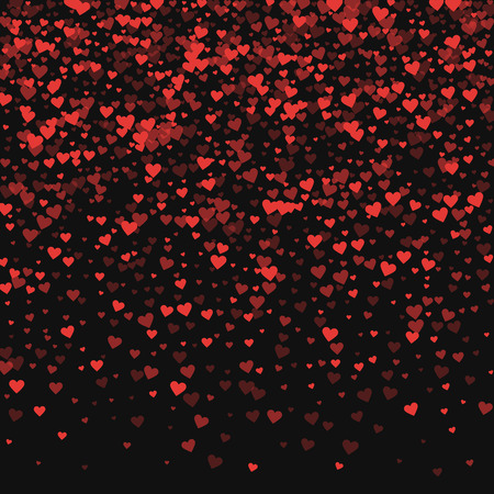 Red hearts confetti. Top gradient on black valentine background. Vector illustration. Illustration