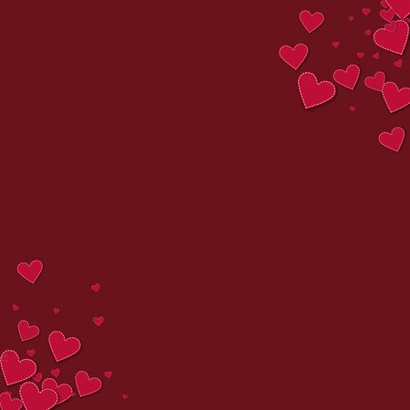 Red stitched paper hearts. Circular corners on wine red background. Vector illustration. Illustration