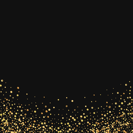 at the bottom of: Gold confetti. Abstract bottom on black background. illustration.