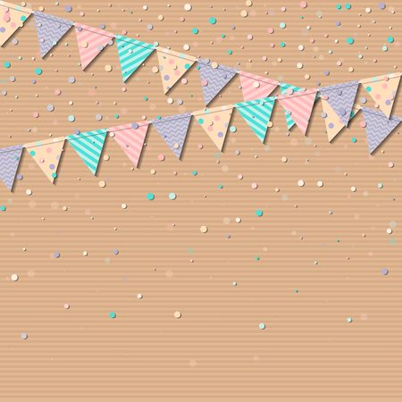 interesting: Bunting garland. Interesting celebration card with colorful paper bunting garland and confetti. Party background with bright decorations. Vector illustration.