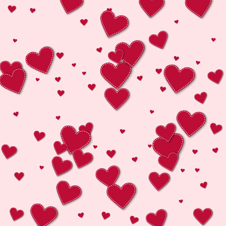 Red stitched paper hearts. Scatter horizontal lines on light pink background. Vector illustration. Illustration