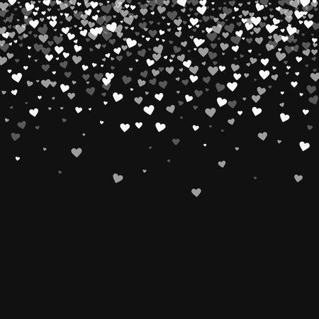White hearts confetti. Scatter top gradient on black valentine background. Vector illustration. Illustration