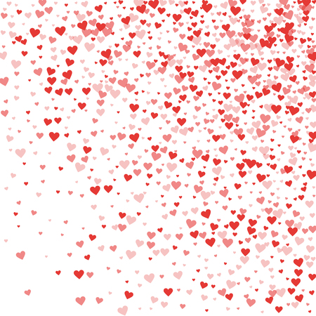 Red hearts confetti. Random gradient scatter on white valentine background. Vector illustration. Illustration