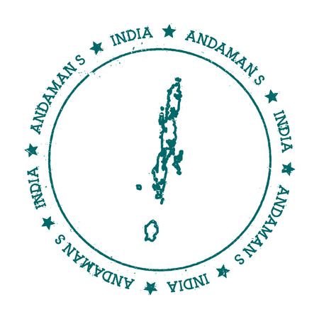 Andaman Islands vector map. Distressed travel stamp with text wrapped around a circle and stars. Island sticker vector illustration.