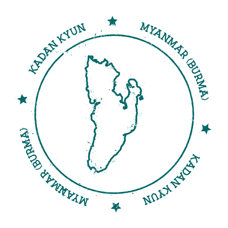 Kadan Kyun vector map. Distressed travel stamp with text wrapped around a circle and stars. Island sticker vector illustration.