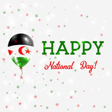 declaration of independence: Western Sahara National Day patriotic poster. Flying Rubber Balloon in Colors of the Sahrawi Flag. Western Sahara National Day background with Balloon, Confetti, Stars, Bokeh and Sparkles.