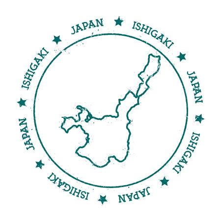 石垣ベクトル マップ。円と星の周り折り返されるテキストで苦しめられた旅行スタンプです。島ステッカー ベクトル イラスト。