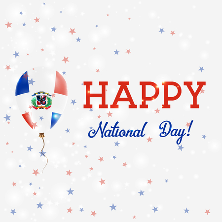 nationalist: Dominicana National Day patriotic poster. Flying Rubber Balloon in Colors of the Dominican Flag. Dominicana National Day background with Balloon, Confetti, Stars, Bokeh and Sparkles.