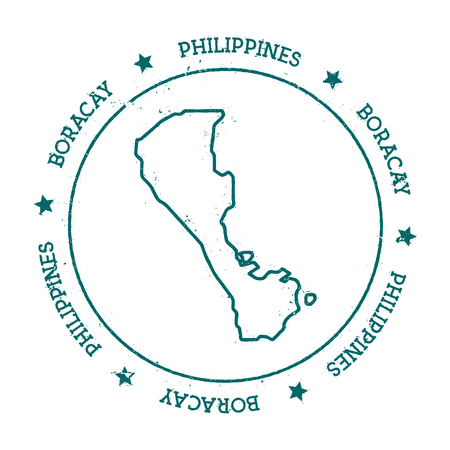 nationalist: Boracay vector map. Distressed travel stamp with text wrapped around a circle and stars. Island sticker vector illustration. Illustration