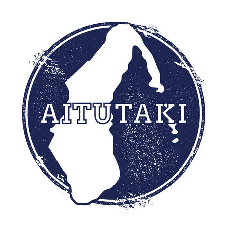 Aitutaki vector map. Grunge rubber stamp with the name and map of island, vector illustration. Can be used as insignia, logotype, label, sticker or badge.