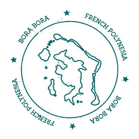 Bora Bora vecteur carte. Distressed timbre Voyage avec le texte enroulé autour d'un cercle et étoiles. autocollant île illustration vectorielle.
