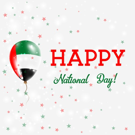 independency: UAE National Day patriotic poster. Flying Rubber Balloon in Colors of the Emirian Flag. UAE National Day background with Balloon, Confetti, Stars, Bokeh and Sparkles.