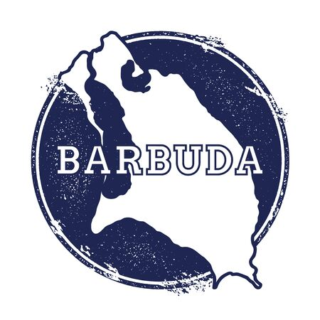 barbed: Barbuda vector map. Grunge rubber stamp with the name and map of island, vector illustration. Can be used as insignia, logotype, label, sticker or badge.