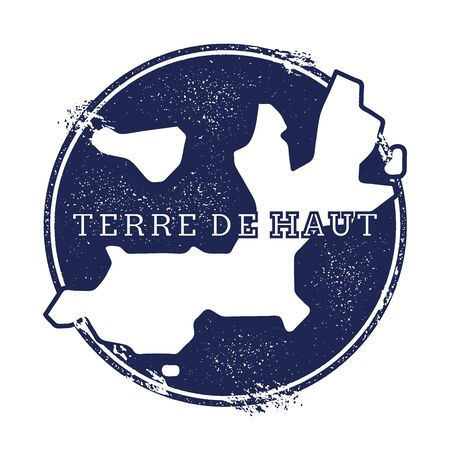 Terre-de-Haut Island vector map. Grunge rubber stamp with the name and map of island, vector illustration. Can be used as insignia, logotype, label, sticker or badge. Illustration