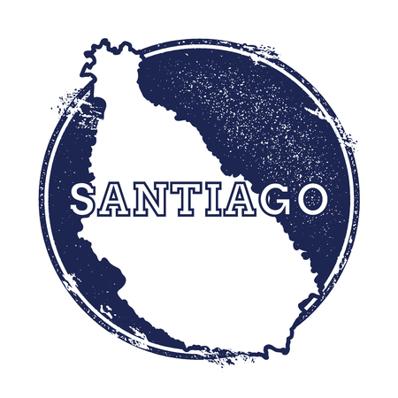 Santiago Island vector map. Grunge rubber stamp with the name and map of island, vector illustration. Can be used as insignia, logotype, label, sticker or badge. Illustration