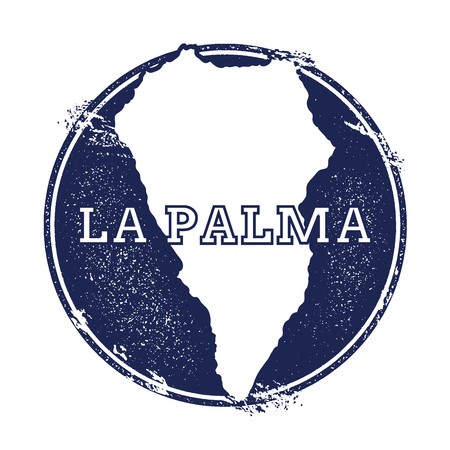 La Palma vector map. Grunge rubber stamp with the name and map of island, vector illustration. Can be used as insignia, logotype, label, sticker or badge. Illustration