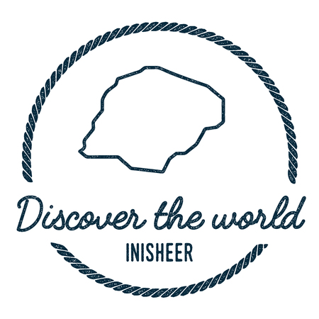 Inisheer Map Outline. Vintage Discover the World Rubber Stamp with Island Map. Hipster Style Nautical Insignia, with Round Rope Border. Travel Vector Illustration.