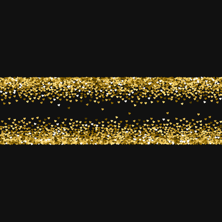 rejoicing: Golden glitter made of hearts. Chaotic shape on black valentine background. Vector illustration.