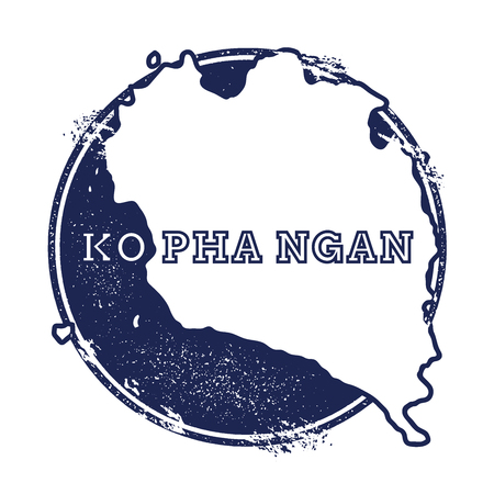 Ko Pha Ngan vector map. Grunge rubber stamp with the name and map of island. Illustration