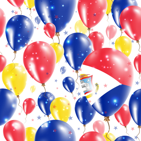 Sint Maarten Independence Day Seamless Pattern. Flying Rubber Balloons in Colors of the Dutch Flag. Happy Sint Maarten Day Patriotic Card with Balloons, Stars and Sparkles.