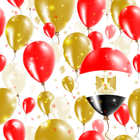 Egypt Independence Day Seamless Pattern. Flying Rubber Balloons in Colors of the Egyptian Flag. Happy Egypt Day Patriotic Card with Balloons, Stars and Sparkles. Illustration