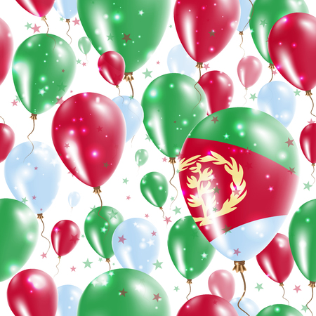 Eritrea Independence Day Seamless Pattern. Flying Rubber Balloons in Colors of the Eritrean Flag. Happy Eritrea Day Patriotic Card with Balloons, Stars and Sparkles. Illustration