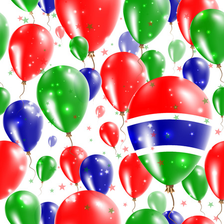 Gambia Independence Day Seamless Pattern. Flying Rubber Balloons in Colors of the Gambian Flag. Happy Gambia Day Patriotic Card with Balloons, Stars and Sparkles.