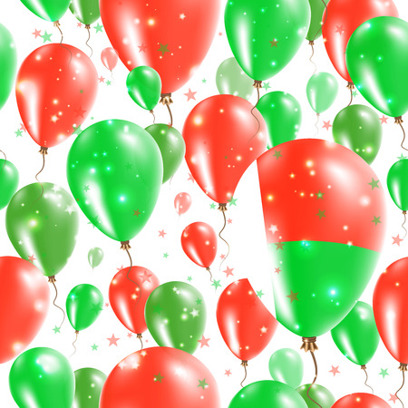 Madagascar Independence Day Seamless Pattern. Flying Rubber Balloons in Colors of the Malagasy Flag. Happy Madagascar Day Patriotic Card with Balloons, Stars and Sparkles. Illustration
