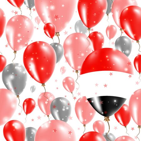 Yemen Independence Day Seamless Pattern. Flying Rubber Balloons in Colors of the Yemeni Flag. Happy Yemen Day Patriotic Card with Balloons, Stars and Sparkles.