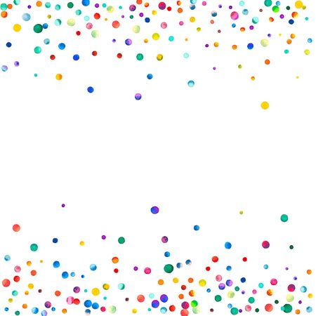 Dense watercolor confetti on white background. Rainbow colored watercolor confetti scattered border. Colorful hand painted illustration.