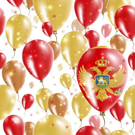 Montenegro Independence Day Seamless Pattern. Flying Rubber Balloons in Colors of the Montenegrin Flag. Happy Montenegro Day Patriotic Card with Balloons, Stars and Sparkles.
