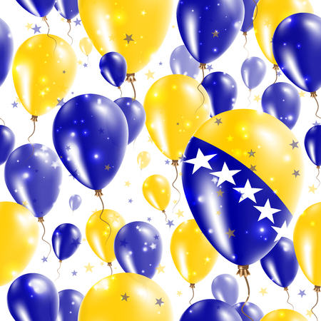 herz: Bosnia Independence Day Seamless Pattern. Flying Rubber Balloons in Colors of the Bosnian, Herzegovinian Flag.