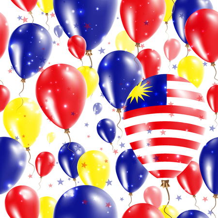 Malaysia Independence Day Seamless Pattern. Flying Rubber Balloons in Colors of the Malaysian Flag.