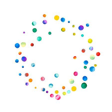 Coriandoli dell'acquerello sparsi su priorità bassa bianca. Struttura del cerchio dei coriandoli dell'acquerello colorata arcobaleno. Illustrazione dipinta a mano colorata.