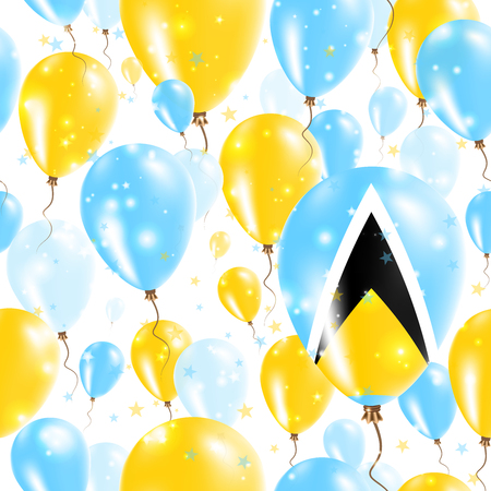 Saint Lucia Independence Day Seamless Pattern. Flying Rubber Balloons in Colors of the Saint Lucian Flag. Happy Saint Lucia Day Patriotic Card with Balloons, Stars and Sparkles.