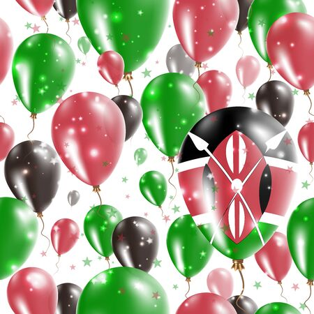 silvery: Kenya Independence Day Seamless Pattern. Flying Rubber Balloons in Colors of the Kenyan Flag. Happy Kenya Day Patriotic Card with Balloons, Stars and Sparkles. Illustration