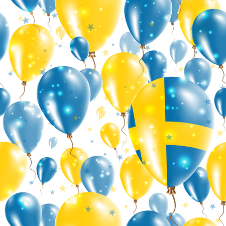Sweden Independence Day Seamless Pattern. Flying Rubber Balloons in Colors of the Swedish Flag.