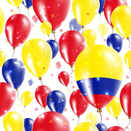 Colombia Independence Day Seamless Pattern. Flying Rubber Balloons in Colors of the Colombian Flag.