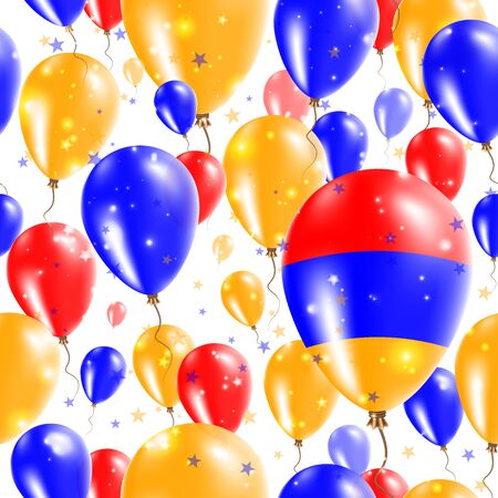 proclamation: Armenia Independence Day Seamless Pattern. Flying Rubber Balloons in Colors of the Armenian Flag.
