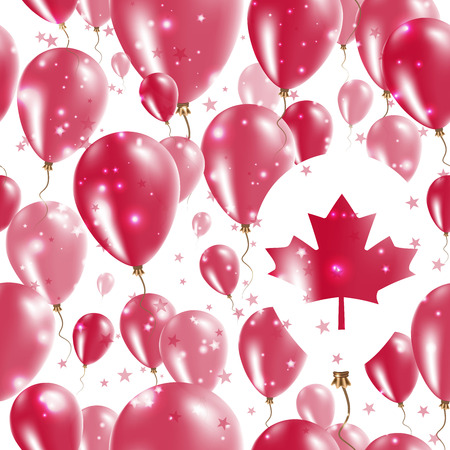Canada Independence Day Seamless Pattern. Flying Rubber Balloons in Colors of the Canadian Flag. Happy Canada Day Patriotic Card with Balloons, Stars and Sparkles.