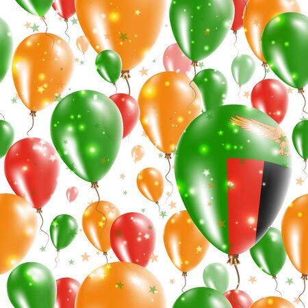 polychrome: Zambia Independence Day Seamless Pattern. Flying Rubber Balloons in Colors of the Zambian Flag. Happy Zambia Day Patriotic Card with Balloons, Stars and Sparkles. Illustration